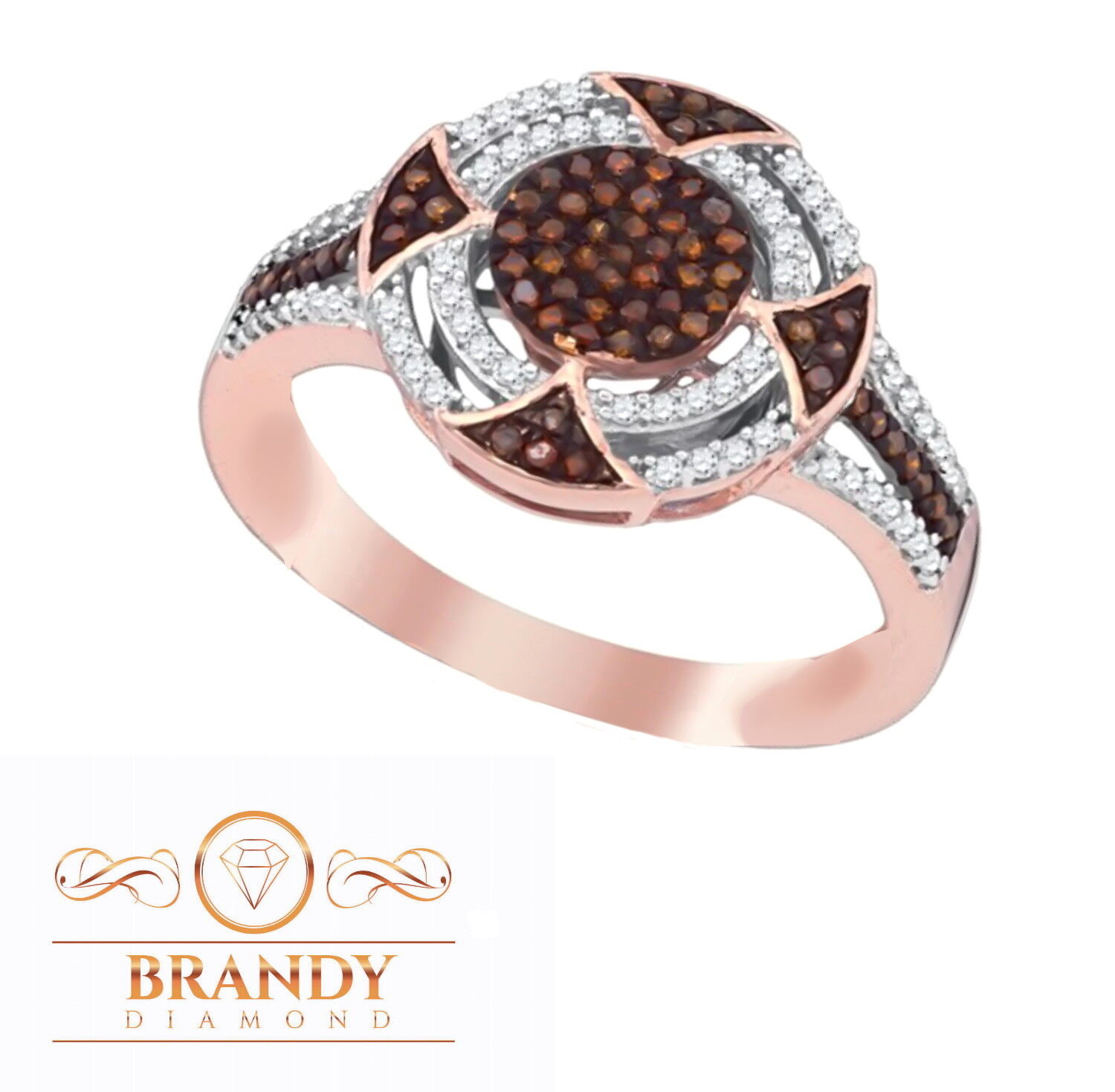 Brandy Diamond Chocolate Brown 10K pink gold Double Halo Fascinating Ring .36 Ct