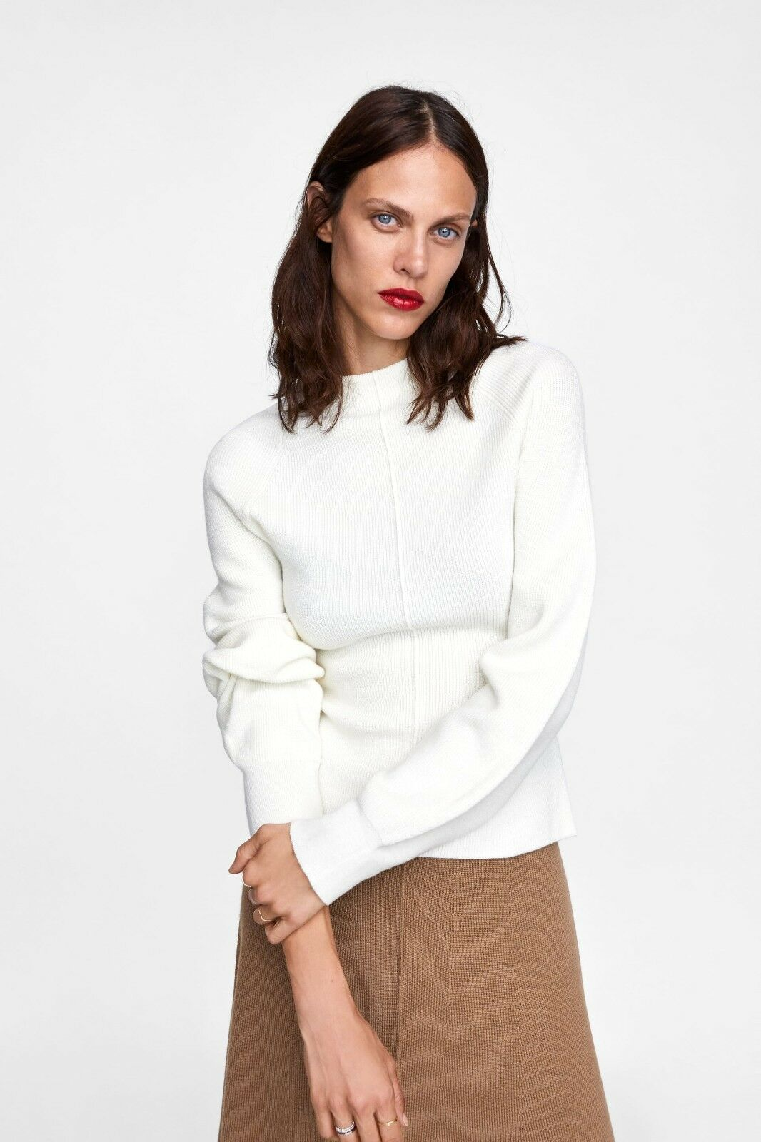 ZARA WOMAN ECRU WHITE MINIMAL COLLECTION PUFF SLEEVE SWEATER M REF. 5755 107