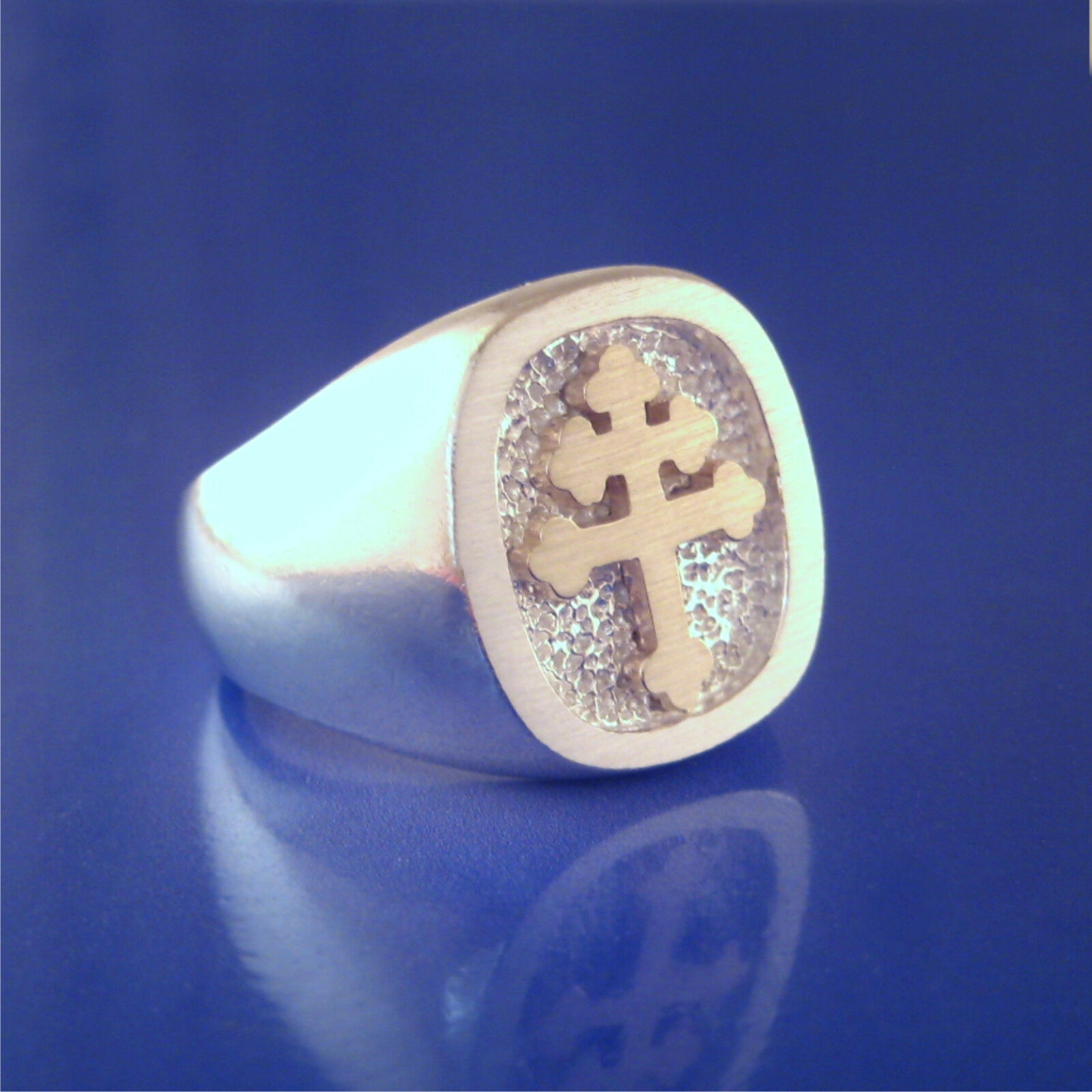 Cross Of Lorraine Ring 14K & Sterling (55-5)