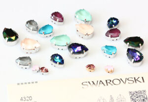 Genuine-SWAROVSKI-4320-Pear-Fancy-Stones-with-Sew-On-Metal-Setting-Many-Colors