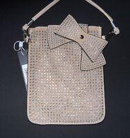 Crossbody Purse Bag Rhinestones Ustyle Beige Bow Side Pocket Snap Strap