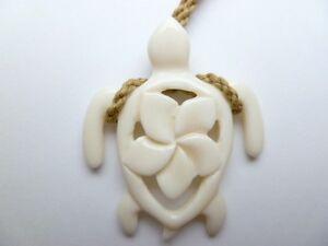 Hawaii Jewelry Turtle White Buffalo Bone Carved Pendant Necklace Choker 35355 Ebay