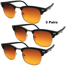 3 PAIR Half Frame BLUE BLOCKER Sunglasses Club w/ Amber Lens Driving Sunglasses