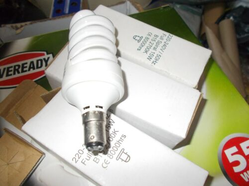 15w  SBC B15 Small Push In Energy Saver Spiral CFL Bulb Lamp Warm White x3