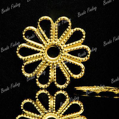 WOW25pcs Flowers Bronze Filigree Links Glue in Cabochon Settings Raw Brass MB557