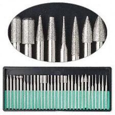 "30pc DREMEL DIAMOND BURR Bit Set Rotary Tools 400 Grit 1/8"" Shank Storage Case"
