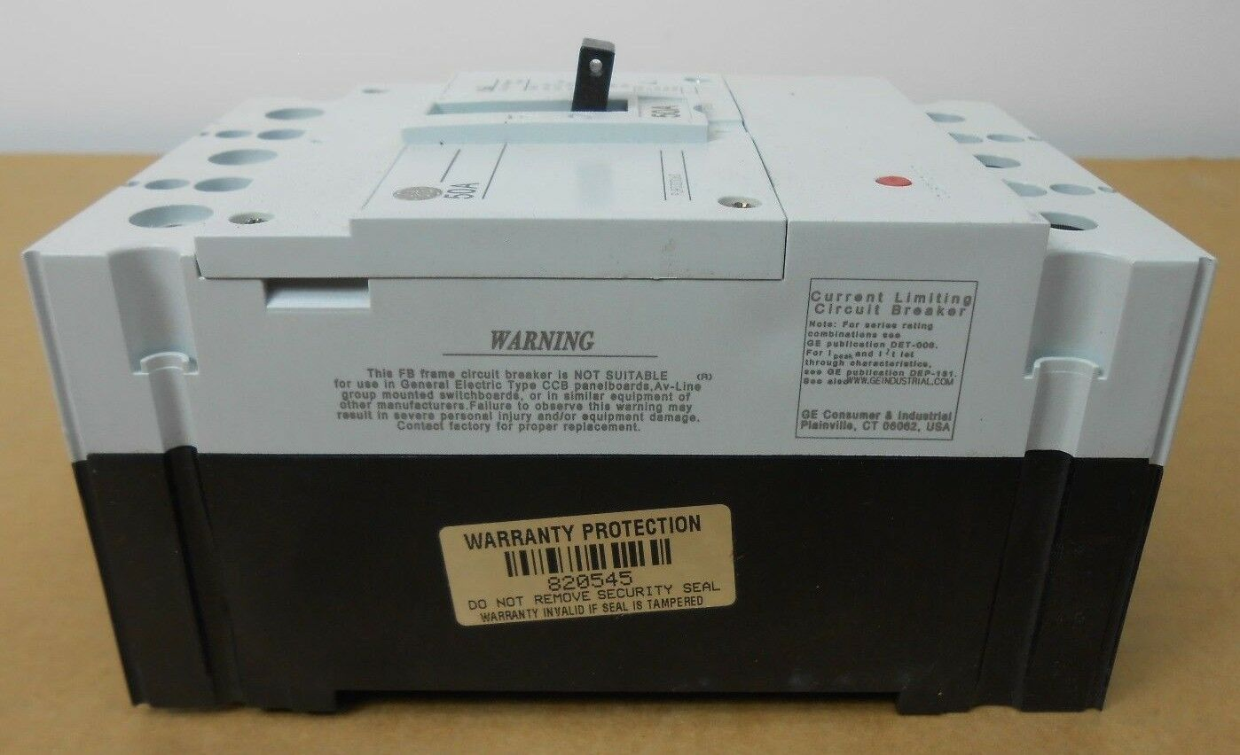 Ge 50amp 3 Pole Record Plus Circuit Breaker Model 1 Fbn36te050rv Ebay Industrial Thql1120afp2 Arc Fault At