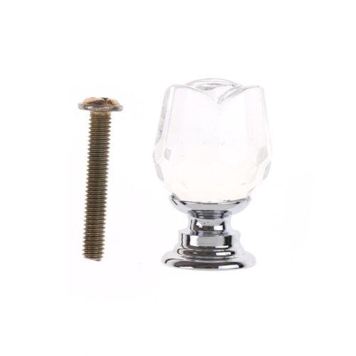 20mm rose forme de cristal en verre tiroir armoire bouton de traction poignée
