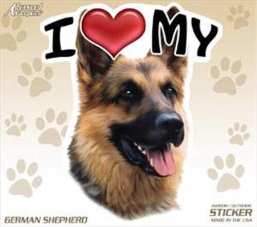 "Set of 2 Two I Love My German Shepherd Dog 4/"" Car Truck Home Sticker Decal"