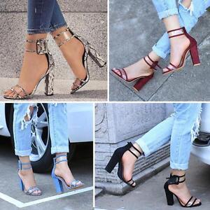 Women-Ankle-Strappy-Buckle-Clear-Open-Peep-Toe-Block-Chunky-Heel-Sandals-ShoesEL