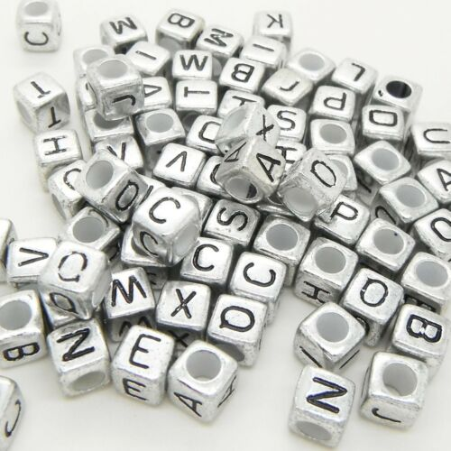 6mm Silver Black Mixed Letter Alphabet Pony Cube Beads Bluk Supplies