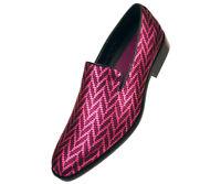 Mens Fuchsia Pink Tuxedo Slip On Dress Shoe Wedding Prom Loafers Tux