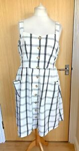 Fat Face Ladies Dress 16 Checked Summer Sun Day Holiday Casual Button Through