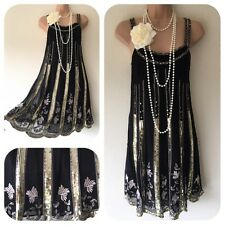 NWT Karen Mille Sequin Beaded Embellished Dress 20's Gatsby Flapper 12 Deco £125