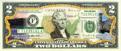 $2 Bill w//Security Features DELAWARE State//Park COLORIZED Legal Tender U.S