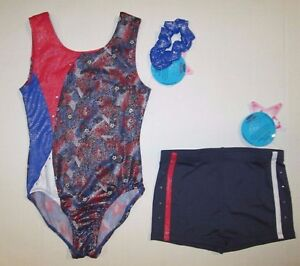 New-Girls-SC-6-7-IC-8-10-MC-Child-Leotard-Shorts-Set-Dance-Gymnastics-Lot-Blue
