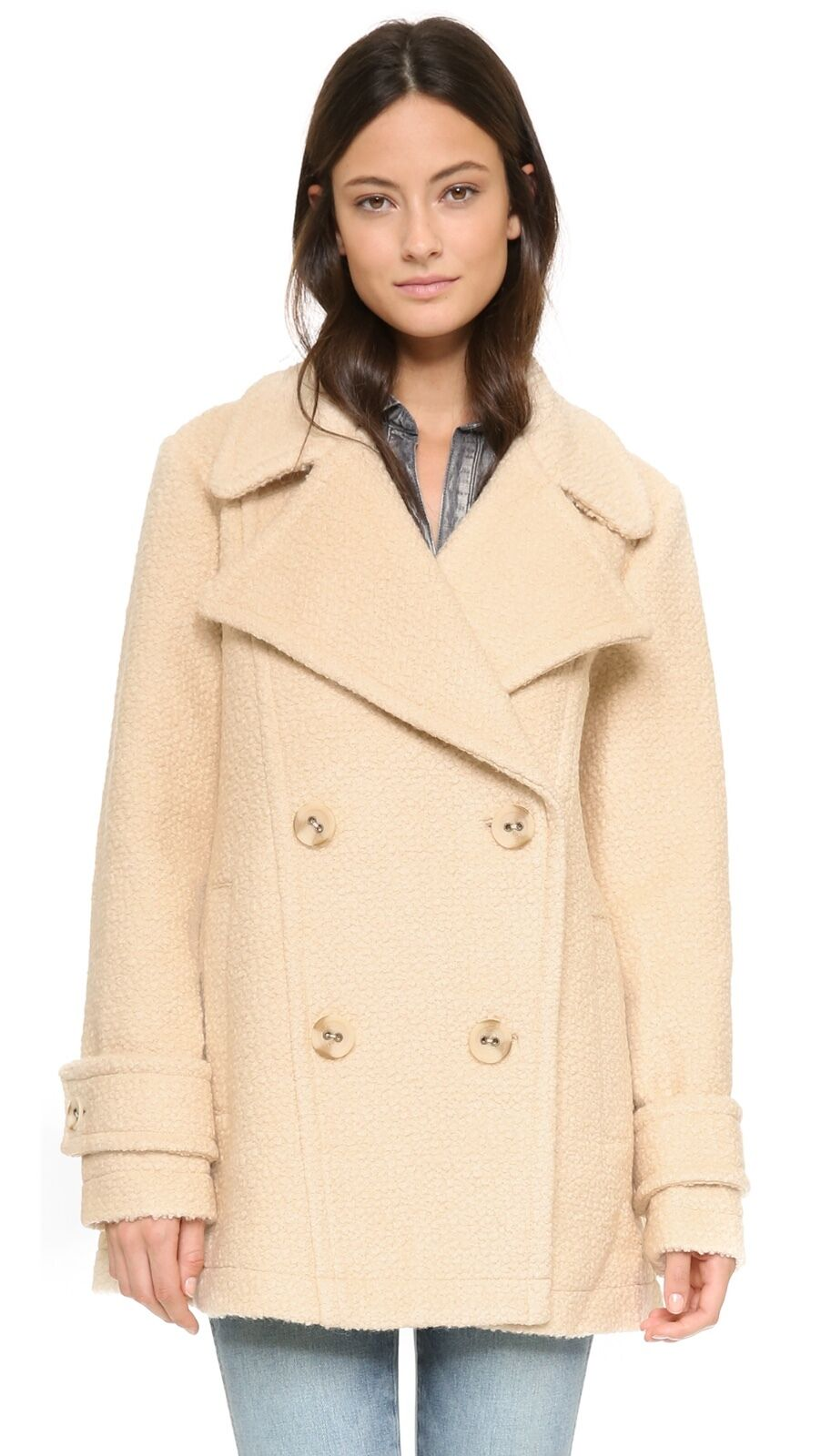 Free People Ivory Boucle Wool Harnie Collar Peacoat Size Large NWOT S O