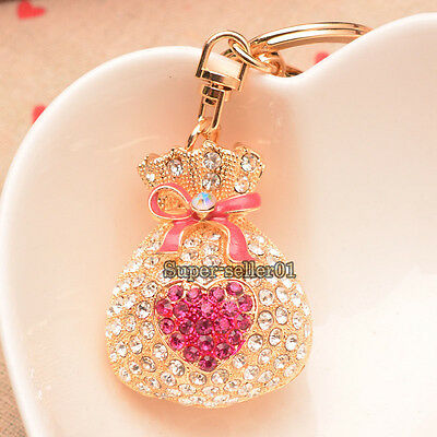 1Pcs Rhinestone Crystal Keyring Charm Luckly Purse Bag Key Ring Chain Keychain
