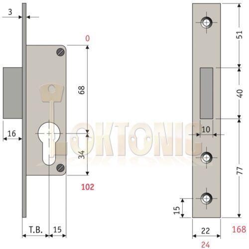 ENFIELD 35 mm Narrow Stile Van Porte Hangar Portail Garage à Mortaise Euro impasse Case