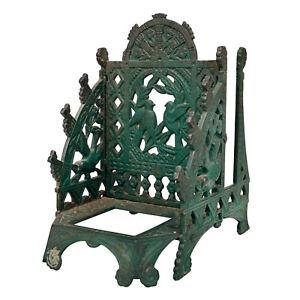 Antique-Eastlake-Victorian-Cast-Iron-Inkwell-Letter-Holder-w-Bird-Motif