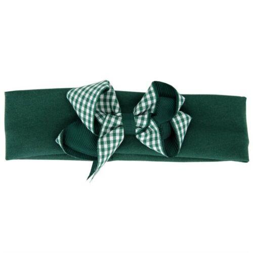 Kids Children Gingham Bow Red Blue Green Navy Burgundy Headband Headwrap School