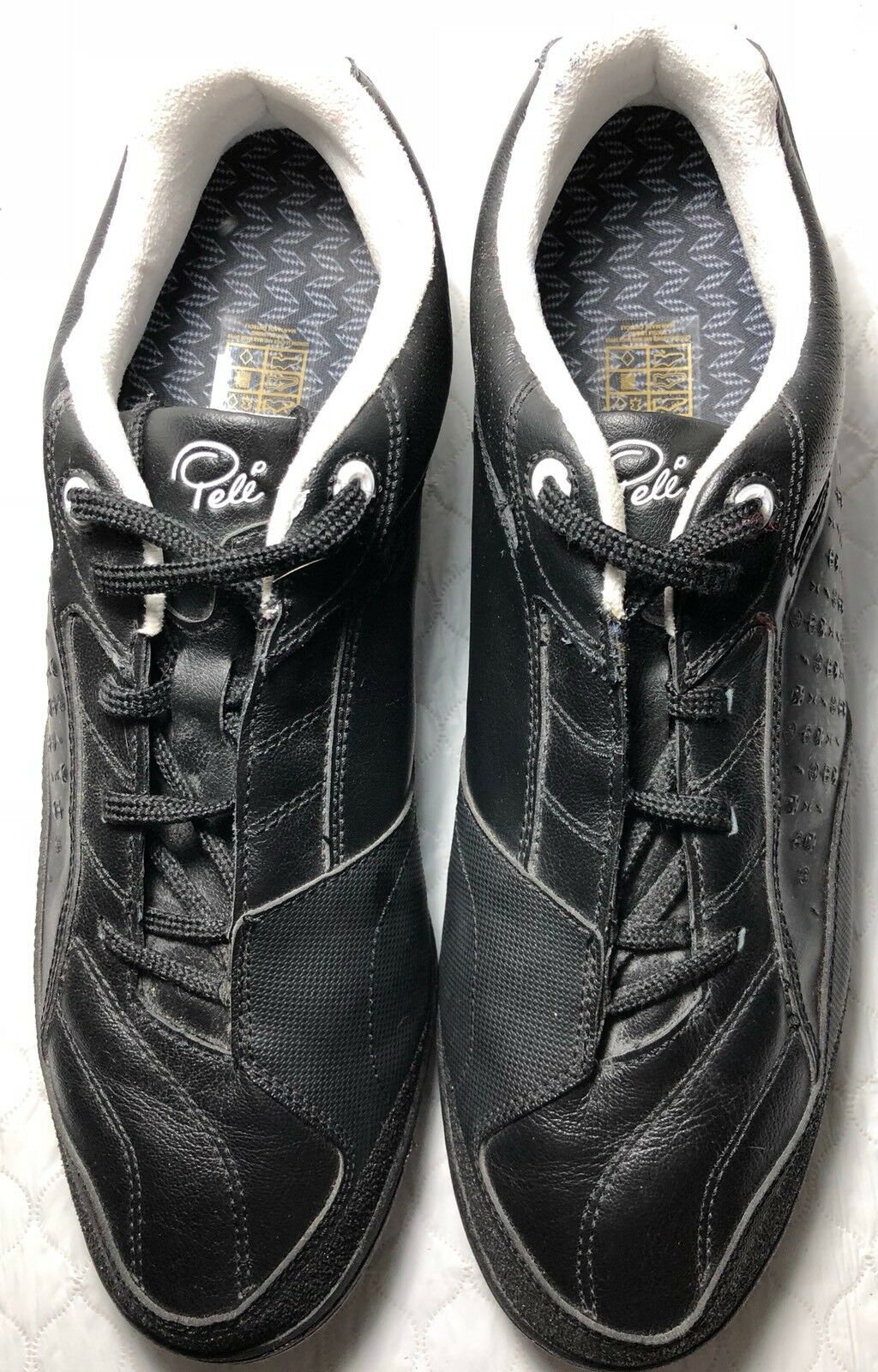 online retailer c9acb ef136 Pele Men s Men s Men s Sports Leather Canvas Athletic Shoes Black Size 11.5  c2ac9f