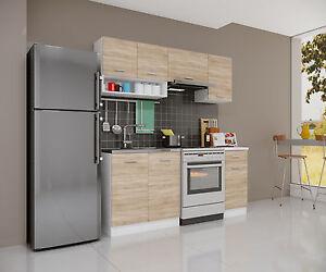 k che mit sp le singlek che sonoma eiche 180cm einbauk che k chenblock zeile ebay. Black Bedroom Furniture Sets. Home Design Ideas