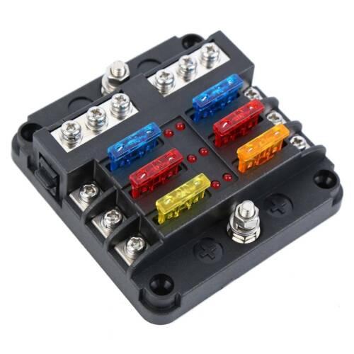 12V 32V 6 Way Car Power Distribution Blade Fuse Holder Box Block Panel Fuses