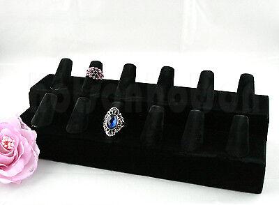 """Black Velvet 12 Jewellert Hand Finger Ring Display Holder Stand10x3.9"""""""