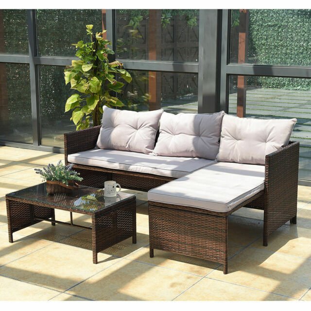 3PC Outdoor Patio Sofa Set Rattan Wicker Deck Couch Garden Furniture