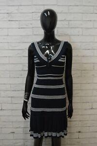 GUESS-Donna-Taglia-Size-S-Vestito-Abito-Tubino-Stretto-Dress-Women-Blu-Cotone