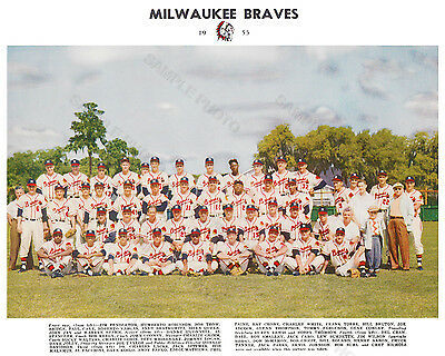 1955 MILWAUKEE BRAVES 8X10 TEAM PHOTO  BASEBALL HOF MLB USA