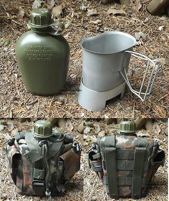 Campingset FLECKTARN Trinkflasche mit Becher Ständer Kocher Molle Tasche
