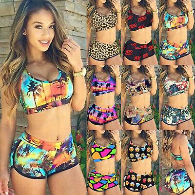 b03f00dd3f Women's Floral Bikini Crop Top High Waist Shorts Beach Bathing Swimsuit  Swimwear | eBay