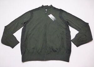 Kenneth-Cole-Reaction-Mens-Size-L-Forrest-Green-Thin-Full-Zip-Sweater-New