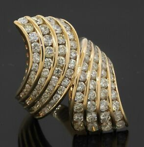 Heavy 18K gold amazing 4.42CTW diamond cluster crossover cocktail ring size 7.25