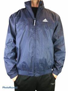 Adidas-Full-Zip-Hooded-Windbreaker-Jacket-Mens-Size-L-Lined-Retro-Blue-2001-Hood