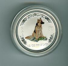 AUSTRALIA 2006 50 CENTS 1/2 OZ. .999 SILVER COLORED DOG. GEM BU
