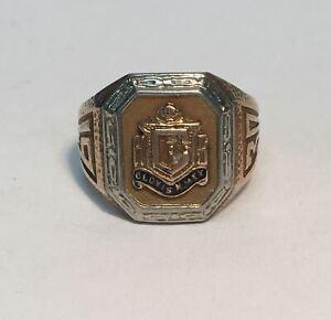 1930-Clovis-NM-High-School-Ring-10K-Very-dainty-Size-3-5