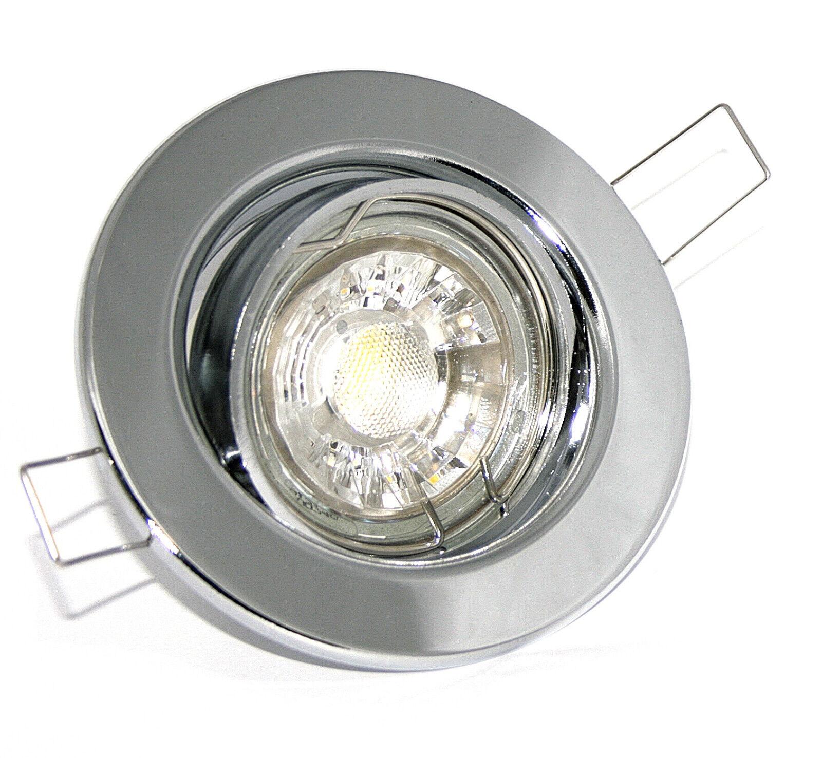 Runde Einbaustrahler K9222 Set Einbauspot GU10 LED 3W COB Einbaurahmen Strahler