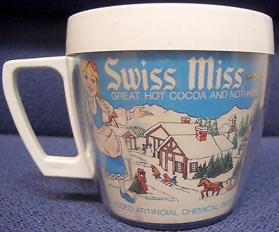 Vintage Swiss Miss Advertising Mug, Paper Insert Mug