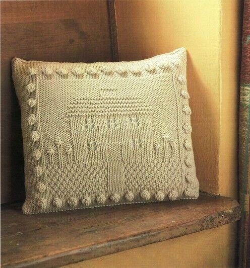 House And Garden Motif Aran Cushion Dk Knitting Pattern 99p Ebay