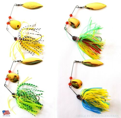 New 4Psc Hard Fishing Lures Spinnerbait Fishing Tackle for Bass Spinner Perch