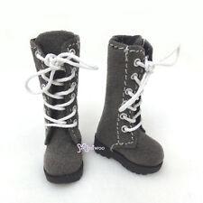 16cm Lati Yellow Basic Bjd Blythe Pullip 1/6 Doll Shoes Long Velvet Boots Grey