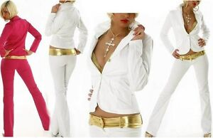 Sexy-Miss-Damen-2-Teiler-Hueft-Hose-Blazer-pink-gold-weiss-gold-Edel-Look-40-42