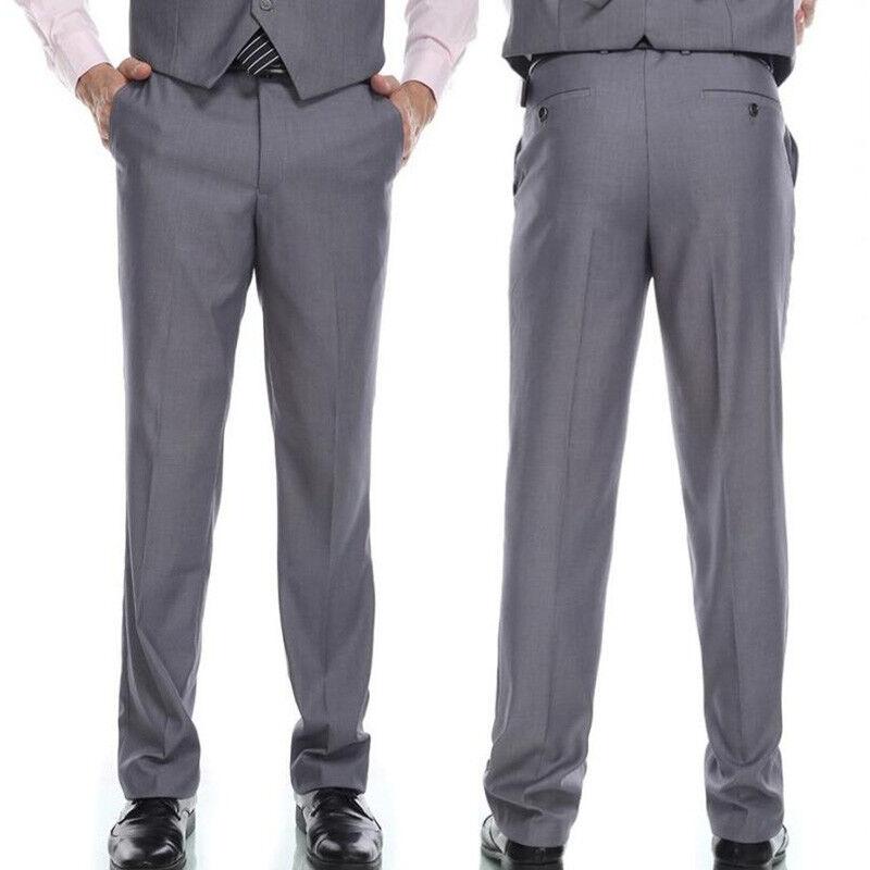 Classic mens Formal prom suit Business Dress Straight-leg Pantsoffice Trouser 19