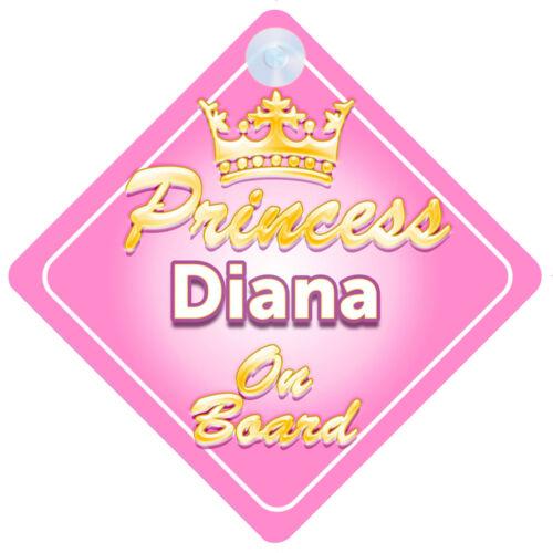 Corona Princesa Diana A Bordo Personalizado Baby Girl Coche Señal