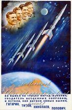 "Soviet Russian Space Poster On Canvas Print 8x10/"" BELKA /& STRELKA #001"