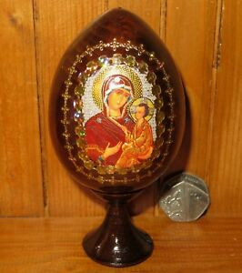 Wood Egg Icon Theotokos She Who is Quick to Hear Russian Mother of GOD Christmas