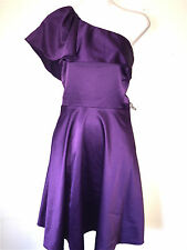THE LIMITED WOMENS LADIES LINED PLUM SATIN ONE SHOULDER COCKTAIL DRESS ~SZ 2